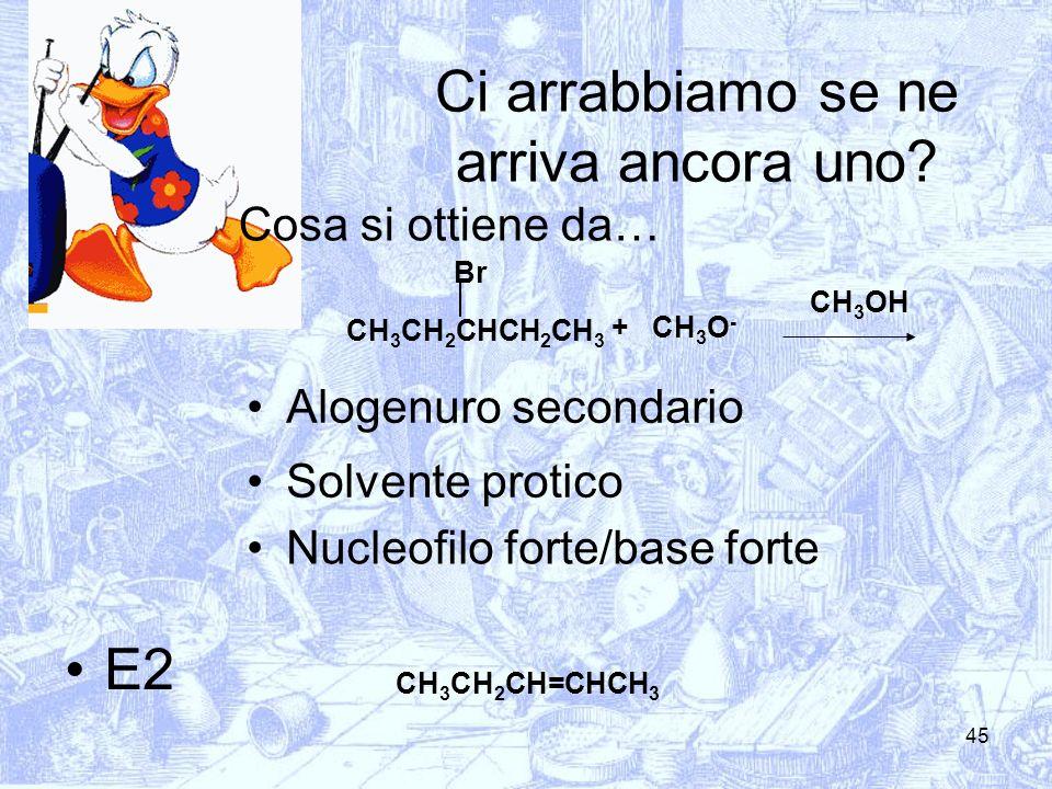 45 Ci arrabbiamo se ne arriva ancora uno? Cosa si ottiene da… CH 3 CH 2 CHCH 2 CH 3 Br CH 3 O - + Alogenuro secondario Solvente protico Nucleofilo for