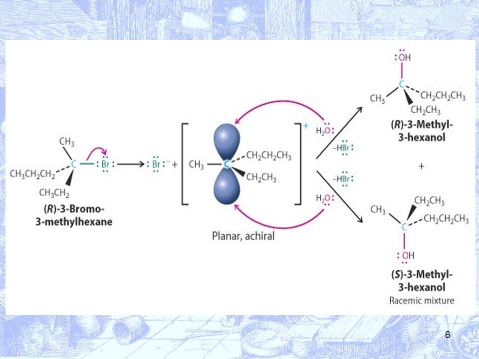 7 Inoltre, poiché si passa attraverso la formazione di un carbocatione, questo meccanismo sarà quello preferito dagli alogenuri che formano carbocationi più stabili, come i terziari o il benzilico e lallilico.