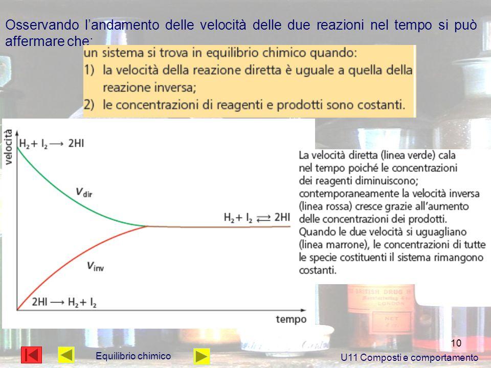 10 Osservando landamento delle velocità delle due reazioni nel tempo si può affermare che: U11 Composti e comportamento Equilibrio chimico