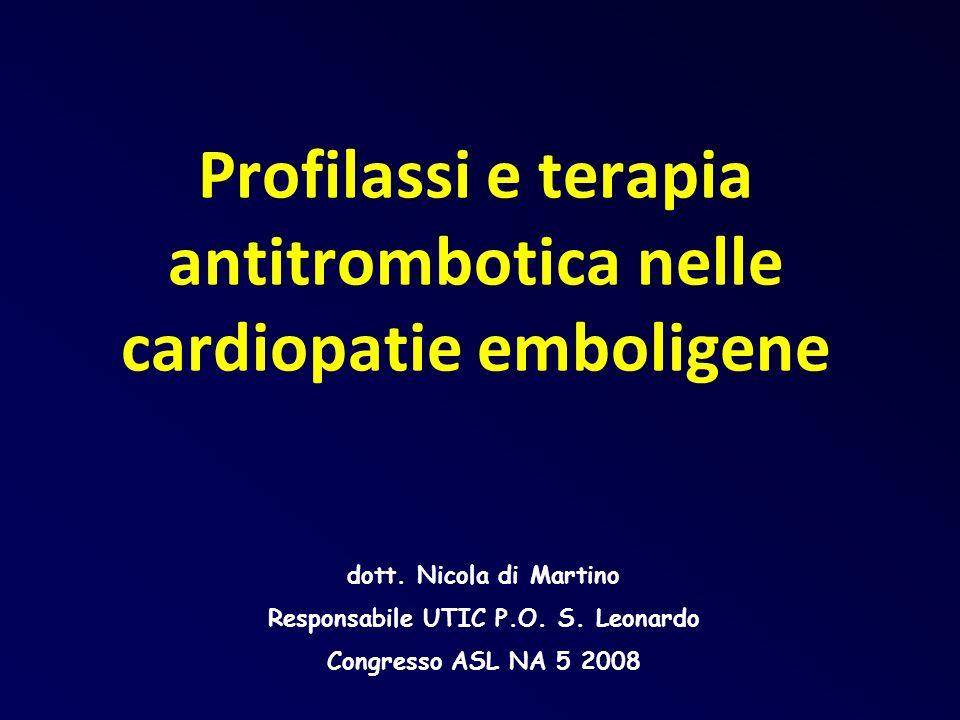 Valvulopatia mitralica reumatica Fibrillazione atriale o Anamnesi di pregressa embolia Embolia nonostante TAO Aspirina: 75 – 100 mg o Dipiridamolo 400 mg o Clopidogrel 75 mg Aggiungere
