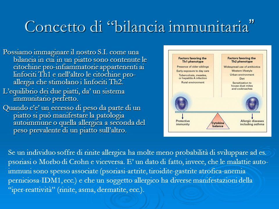 Concetto di bilancia immunitaria Concetto di bilancia immunitaria Possiamo immaginare il nostro S.I. come una bilancia in cui in un piatto sono conten