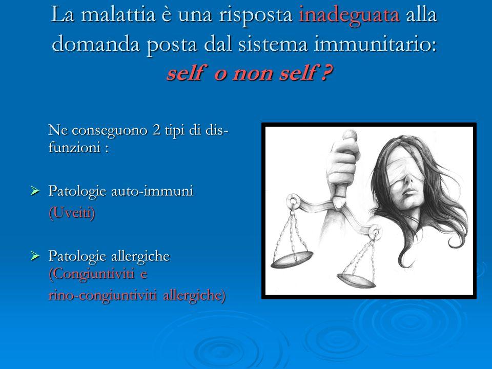 La malattia è una risposta inadeguata alla domanda posta dal sistema immunitario: self o non self ? Ne conseguono 2 tipi di dis- funzioni : Patologie