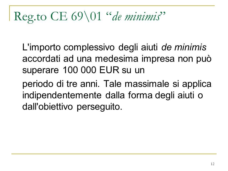 12 Reg.to CE 69\01 de minimis L importo complessivo degli aiuti de minimis accordati ad una medesima impresa non può superare 100 000 EUR su un periodo di tre anni.