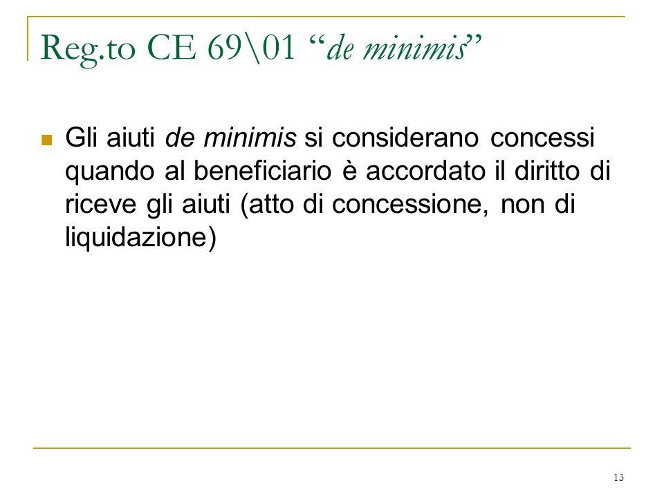13 Reg.to CE 69\01 de minimis Gli aiuti de minimis si considerano concessi quando al beneficiario è accordato il diritto di riceve gli aiuti (atto di concessione, non di liquidazione)