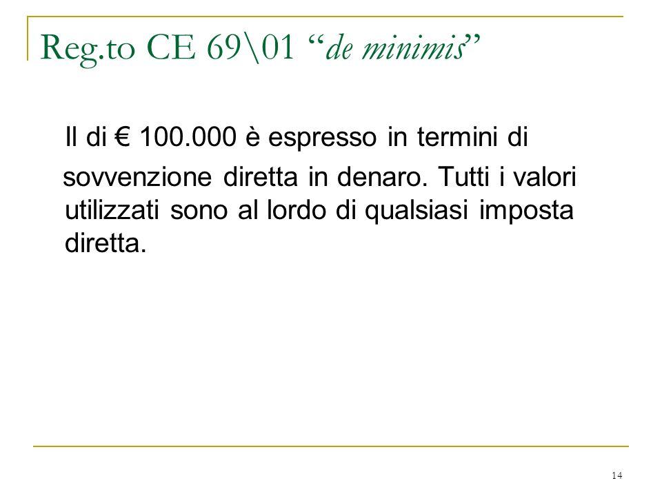 14 Reg.to CE 69\01 de minimis Il di 100.000 è espresso in termini di sovvenzione diretta in denaro.