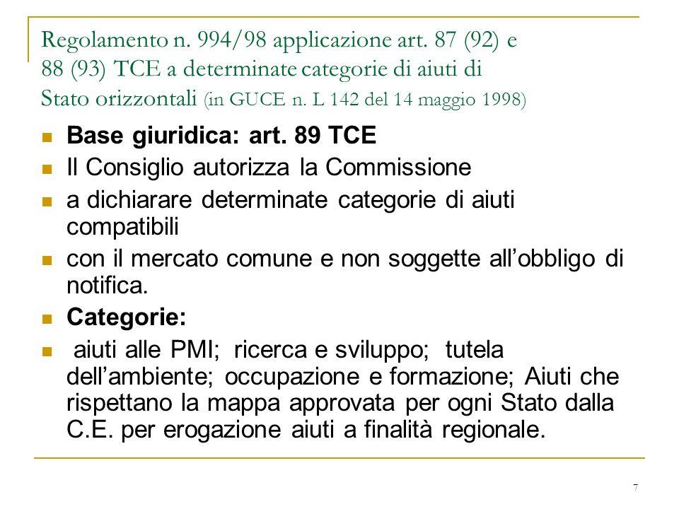7 Regolamento n. 994/98 applicazione art.