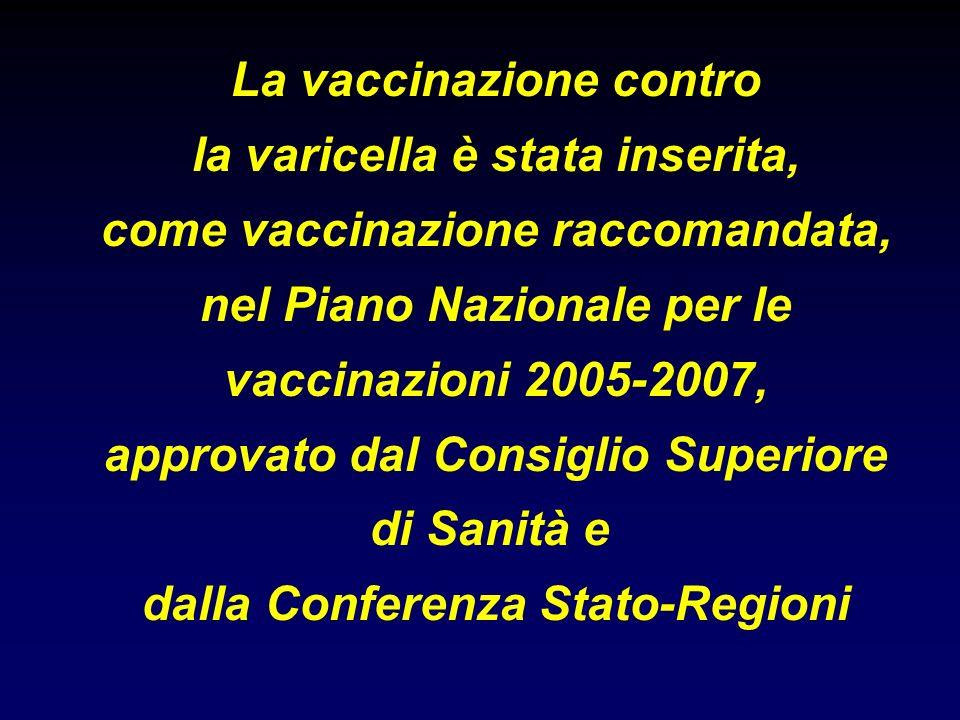 La vaccinazione contro la varicella è stata inserita, come vaccinazione raccomandata, nel Piano Nazionale per le vaccinazioni 2005-2007, approvato dal