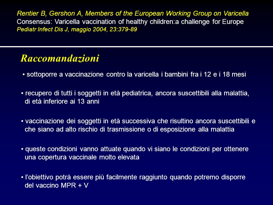 Rentier B, Gershon A, Members of the European Working Group on Varicella Consensus: Varicella vaccination of healthy children:a challenge for Europe P