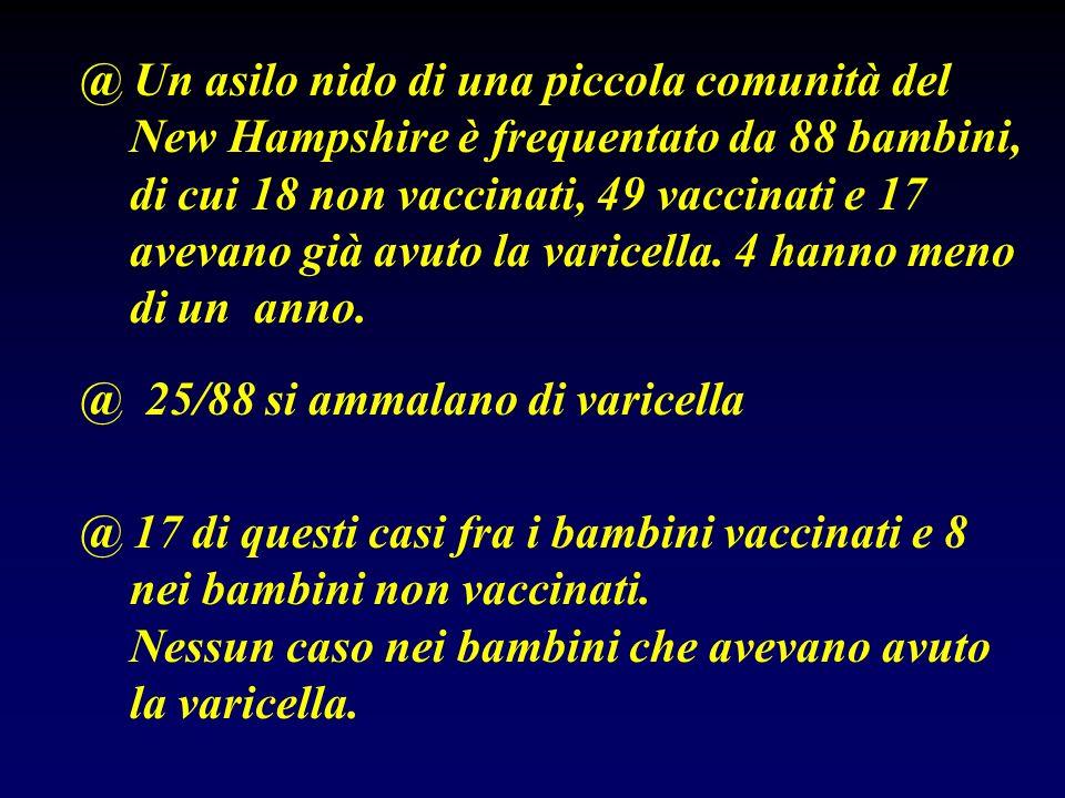 @ Un asilo nido di una piccola comunità del New Hampshire è frequentato da 88 bambini, di cui 18 non vaccinati, 49 vaccinati e 17 avevano già avuto la
