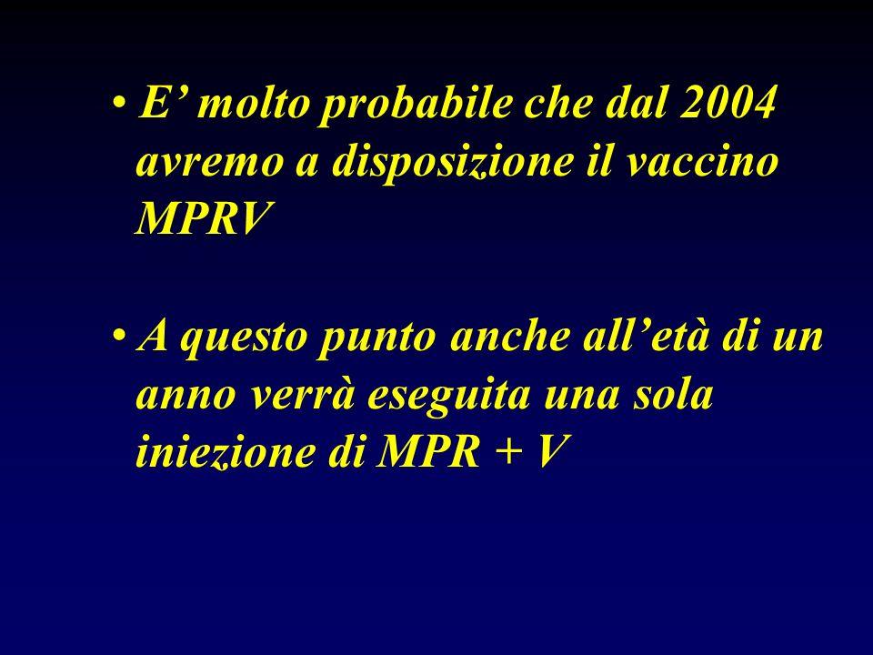 E molto probabile che dal 2004 avremo a disposizione il vaccino MPRV A questo punto anche alletà di un anno verrà eseguita una sola iniezione di MPR +