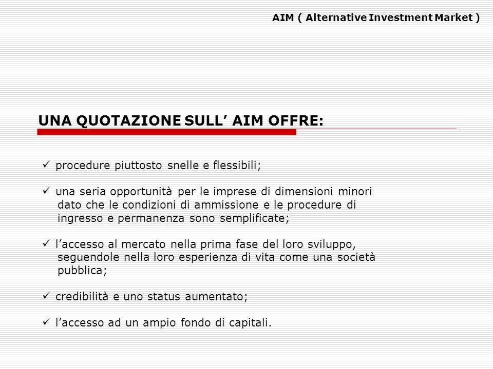 AIM ( Alternative Investment Market ) procedure piuttosto snelle e flessibili; una seria opportunità per le imprese di dimensioni minori dato che le c