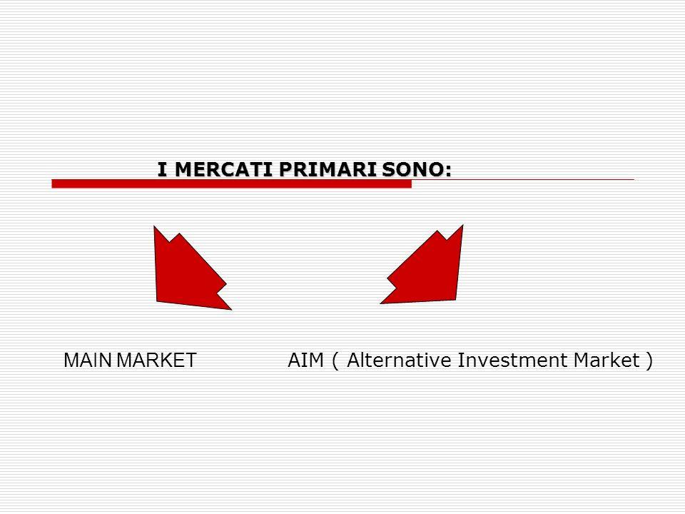 I MERCATI PRIMARI SONO: I MERCATI PRIMARI SONO: MAIN MARKET AIM ( Alternative Investment Market )