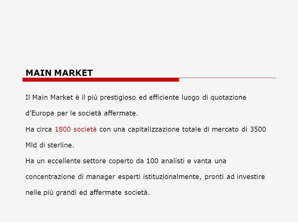 MAIN MARKET Il Main Market è il più prestigioso ed efficiente luogo di quotazione dEuropa per le società affermate. Ha circa 1800 società con una capi