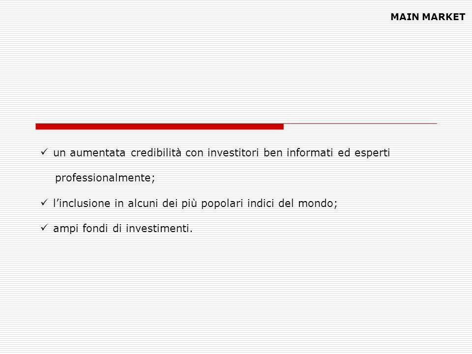 un aumentata credibilità con investitori ben informati ed esperti professionalmente; linclusione in alcuni dei più popolari indici del mondo; ampi fon