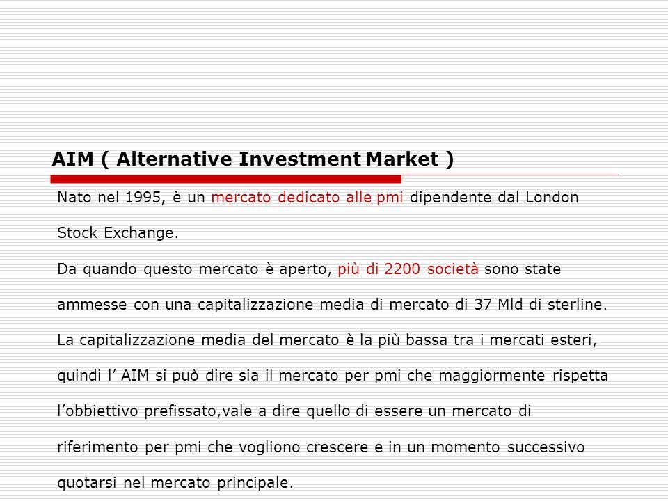 AIM ( Alternative Investment Market ) Nato nel 1995, è un mercato dedicato alle pmi dipendente dal London Stock Exchange. Da quando questo mercato è a