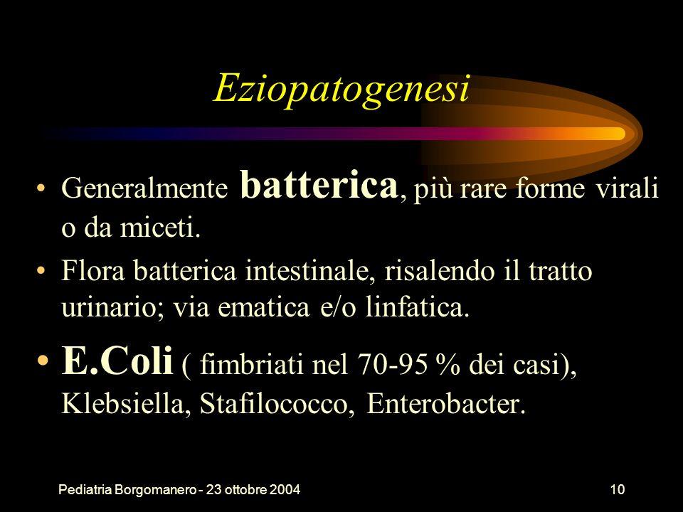 Pediatria Borgomanero - 23 ottobre 200410 Eziopatogenesi Generalmente batterica, più rare forme virali o da miceti. Flora batterica intestinale, risal