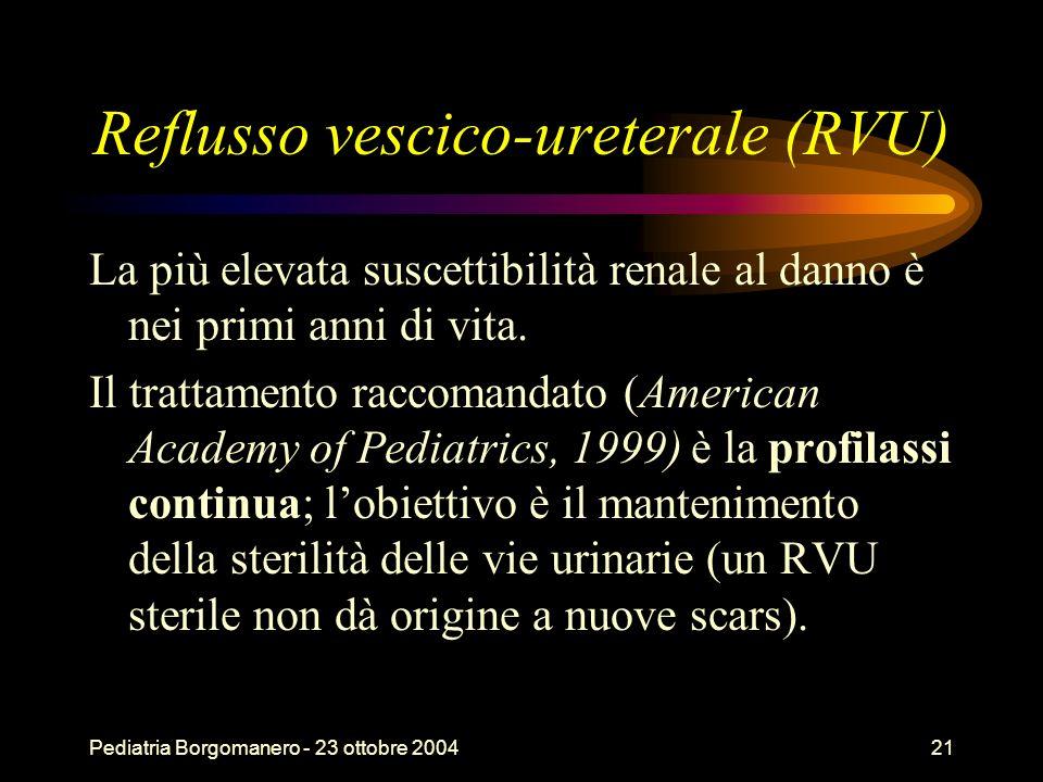 Pediatria Borgomanero - 23 ottobre 200421 Reflusso vescico-ureterale (RVU) La più elevata suscettibilità renale al danno è nei primi anni di vita. Il
