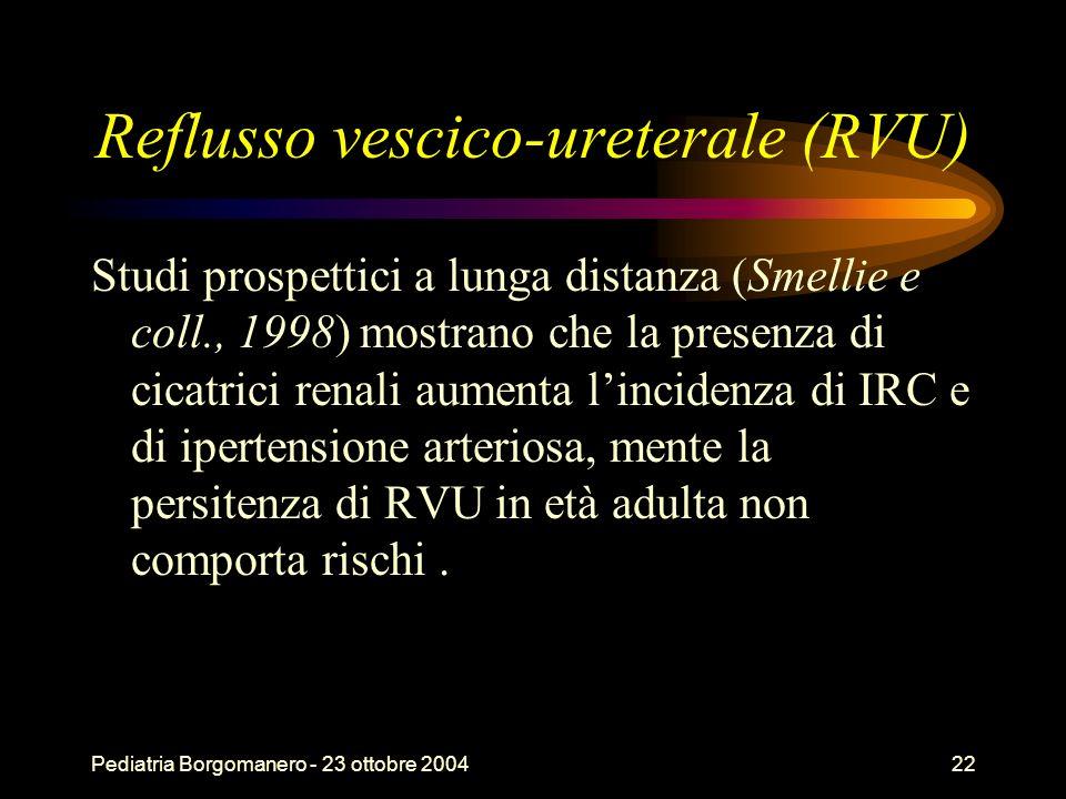 Pediatria Borgomanero - 23 ottobre 200422 Reflusso vescico-ureterale (RVU) Studi prospettici a lunga distanza (Smellie e coll., 1998) mostrano che la