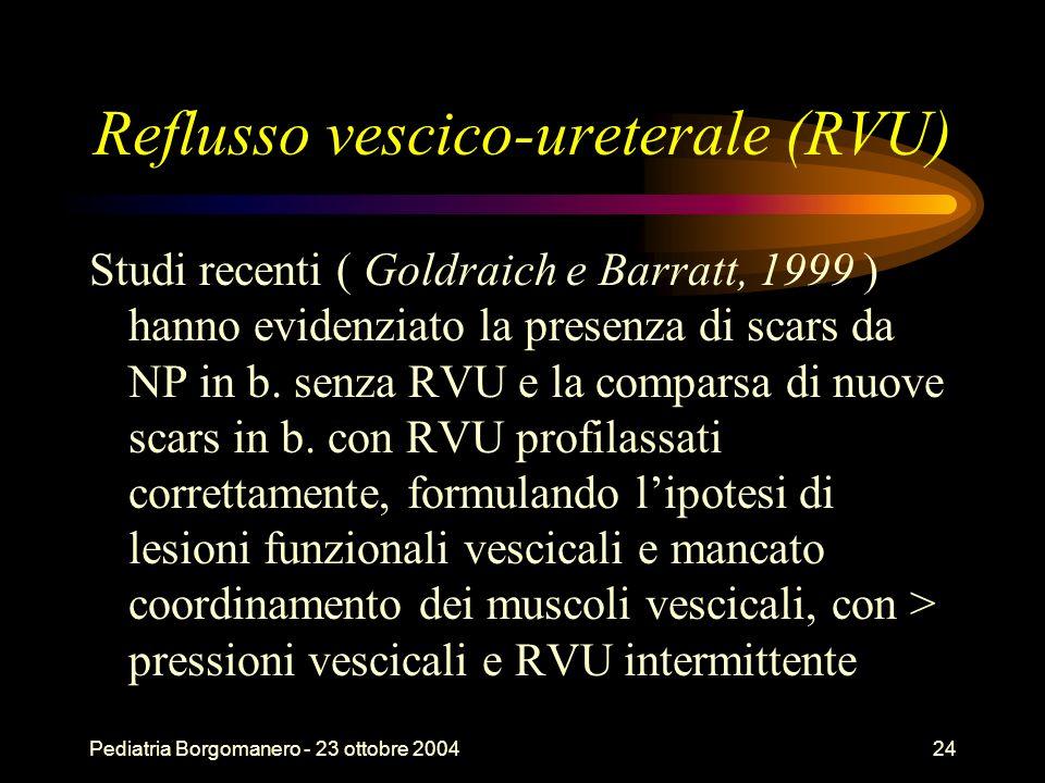 Pediatria Borgomanero - 23 ottobre 200424 Reflusso vescico-ureterale (RVU) Studi recenti ( Goldraich e Barratt, 1999 ) hanno evidenziato la presenza d