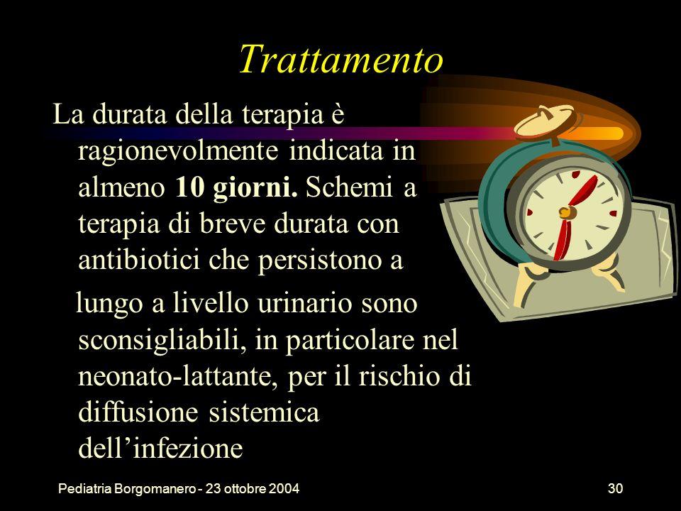 Pediatria Borgomanero - 23 ottobre 200430 Trattamento La durata della terapia è ragionevolmente indicata in almeno 10 giorni. Schemi a terapia di brev