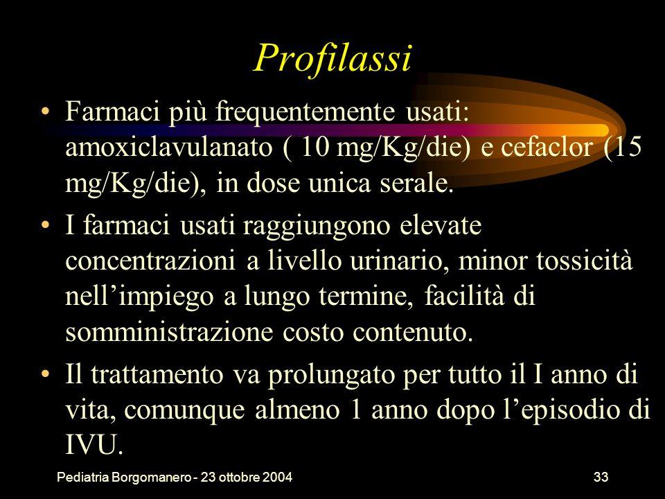 Pediatria Borgomanero - 23 ottobre 200433 Profilassi Farmaci più frequentemente usati: amoxiclavulanato ( 10 mg/Kg/die) e cefaclor (15 mg/Kg/die), in