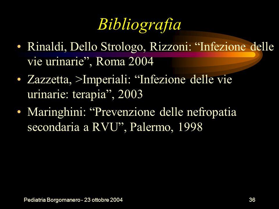Pediatria Borgomanero - 23 ottobre 200436 Bibliografia Rinaldi, Dello Strologo, Rizzoni: Infezione delle vie urinarie, Roma 2004 Zazzetta, >Imperiali: