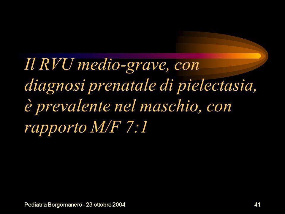 Pediatria Borgomanero - 23 ottobre 200441 Il RVU medio-grave, con diagnosi prenatale di pielectasia, è prevalente nel maschio, con rapporto M/F 7:1