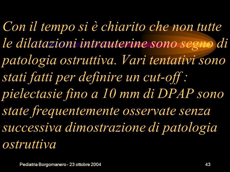 Pediatria Borgomanero - 23 ottobre 200443 Con il tempo si è chiarito che non tutte le dilatazioni intrauterine sono segno di patologia ostruttiva. Var