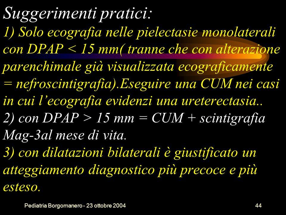 Pediatria Borgomanero - 23 ottobre 200444 Suggerimenti pratici: 1) Solo ecografia nelle pielectasie monolaterali con DPAP 15 mm = CUM + scintigrafia M