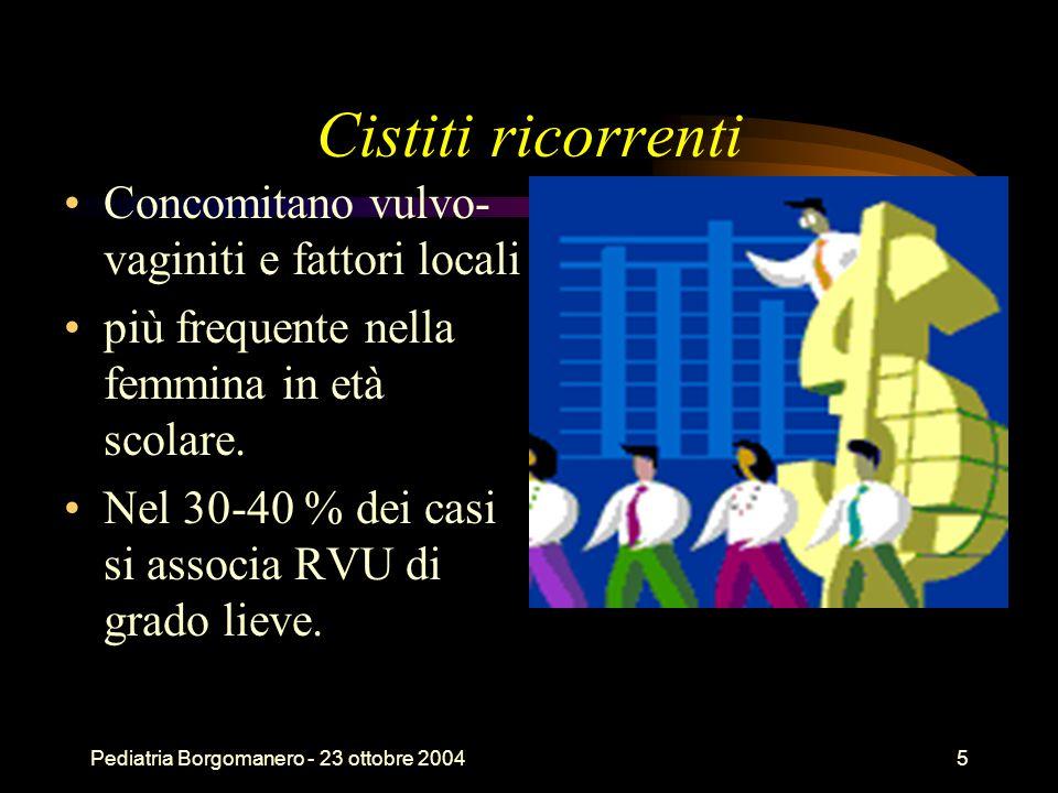 Pediatria Borgomanero - 23 ottobre 20045 Cistiti ricorrenti Concomitano vulvo- vaginiti e fattori locali più frequente nella femmina in età scolare. N