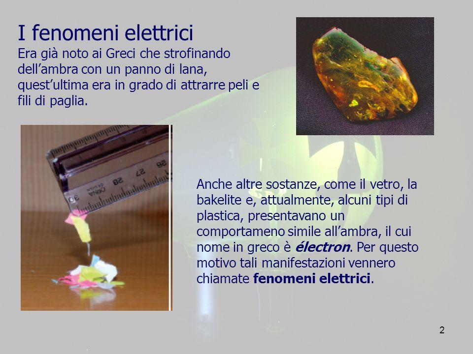 2 I fenomeni elettrici Era già noto ai Greci che strofinando dellambra con un panno di lana, questultima era in grado di attrarre peli e fili di paglia.