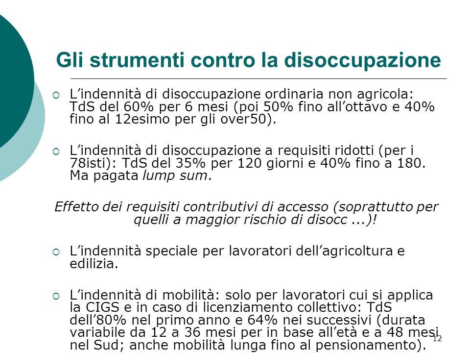 12 Gli strumenti contro la disoccupazione Lindennità di disoccupazione ordinaria non agricola: TdS del 60% per 6 mesi (poi 50% fino allottavo e 40% fino al 12esimo per gli over50).