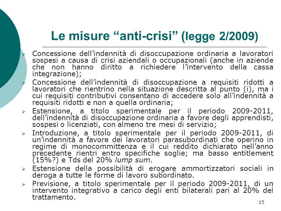 15 Le misure anti-crisi ( legge 2/2009) Concessione dellindennità di disoccupazione ordinaria a lavoratori sospesi a causa di crisi aziendali o occupa