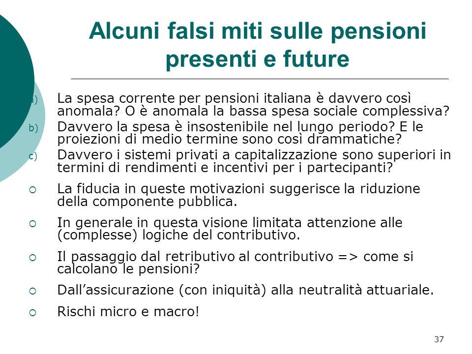 37 Alcuni falsi miti sulle pensioni presenti e future a) La spesa corrente per pensioni italiana è davvero così anomala? O è anomala la bassa spesa so
