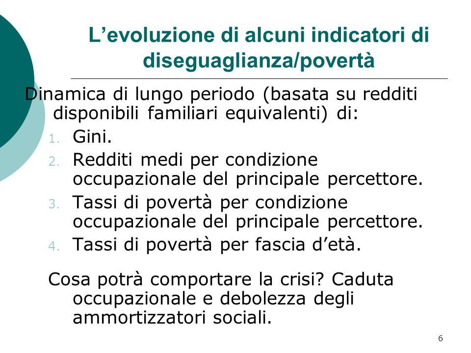 6 Levoluzione di alcuni indicatori di diseguaglianza/povertà Dinamica di lungo periodo (basata su redditi disponibili familiari equivalenti) di: 1.