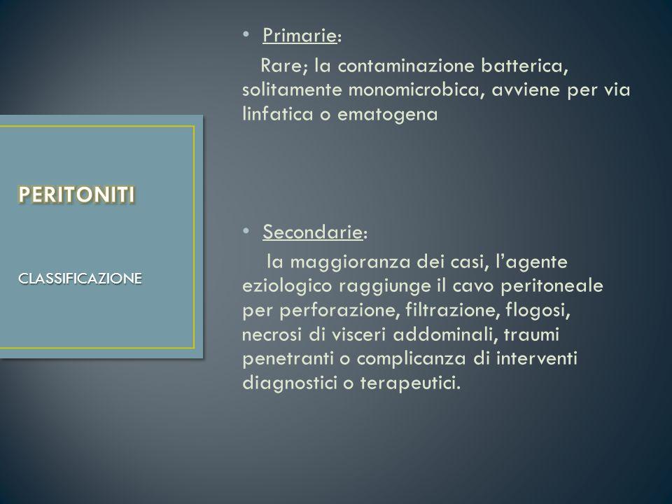 Primarie: Rare; la contaminazione batterica, solitamente monomicrobica, avviene per via linfatica o ematogena Secondarie: la maggioranza dei casi, lag
