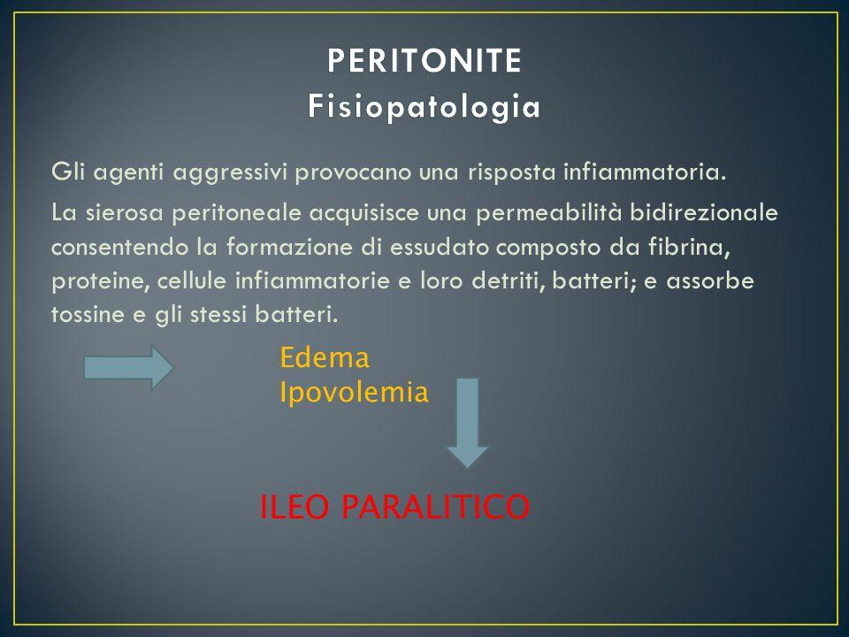 Gli agenti aggressivi provocano una risposta infiammatoria. La sierosa peritoneale acquisisce una permeabilità bidirezionale consentendo la formazione