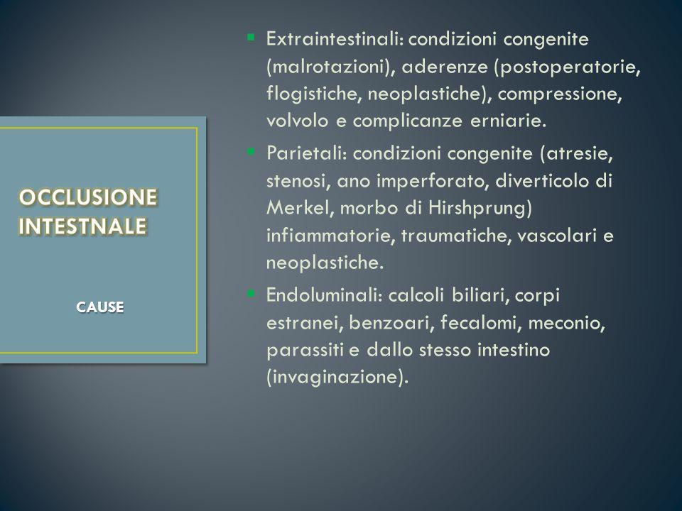 Extraintestinali: condizioni congenite (malrotazioni), aderenze (postoperatorie, flogistiche, neoplastiche), compressione, volvolo e complicanze ernia