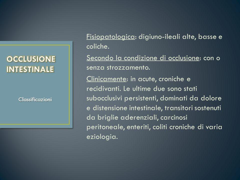 Fisiopatologica: digiuno-ileali alte, basse e coliche. Secondo la condizione di occlusione: con o senza strozzamento. Clinicamente: in acute, croniche
