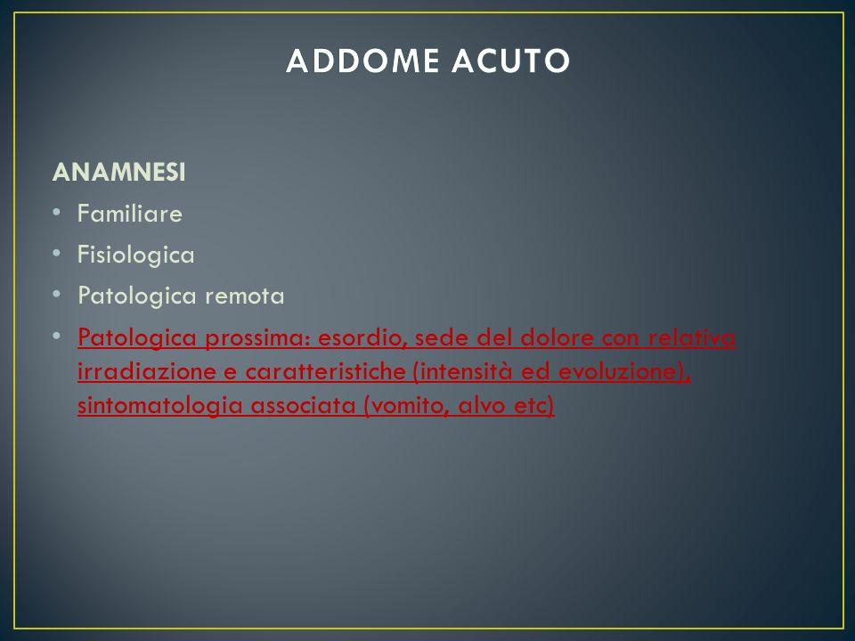 ANAMNESI Familiare Fisiologica Patologica remota Patologica prossima: esordio, sede del dolore con relativa irradiazione e caratteristiche (intensità