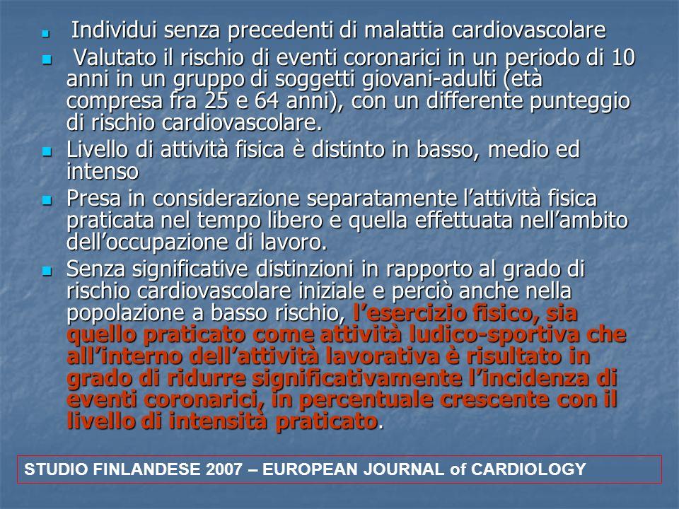 Individui senza precedenti di malattia cardiovascolare Individui senza precedenti di malattia cardiovascolare Valutato il rischio di eventi coronarici