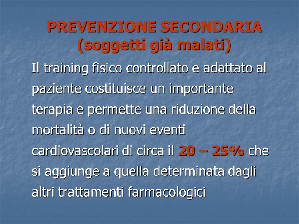PREVENZIONE SECONDARIA (soggetti già malati) Il training fisico controllato e adattato al paziente costituisce un importante terapia e permette una ri