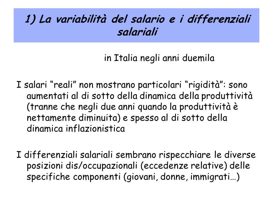 1) La variabilità del salario e i differenziali salariali in Italia negli anni duemila I salari reali non mostrano particolari rigidità: sono aumentat