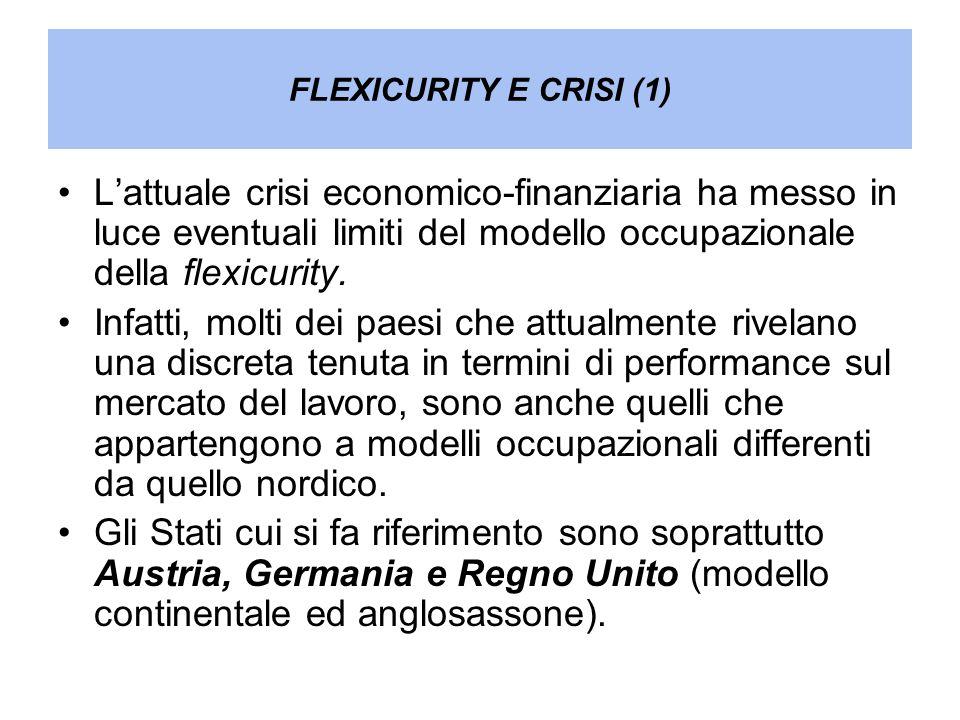 FLEXICURITY E CRISI (1) Lattuale crisi economico-finanziaria ha messo in luce eventuali limiti del modello occupazionale della flexicurity. Infatti, m