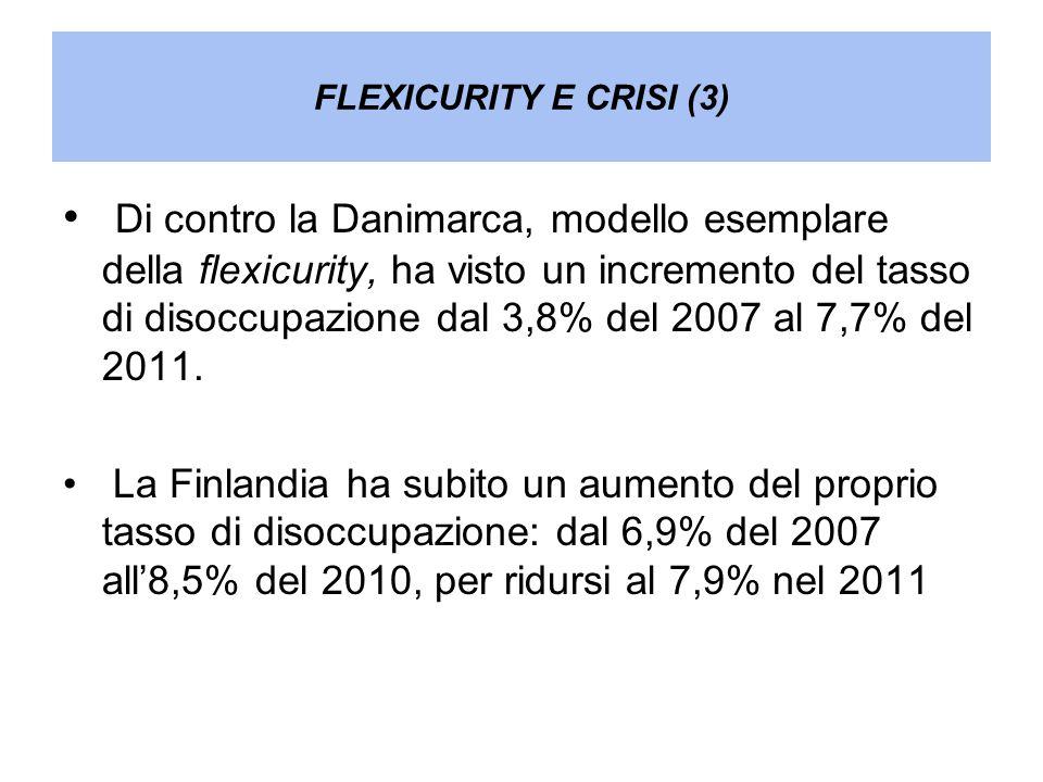 FLEXICURITY E CRISI (3) Di contro la Danimarca, modello esemplare della flexicurity, ha visto un incremento del tasso di disoccupazione dal 3,8% del 2