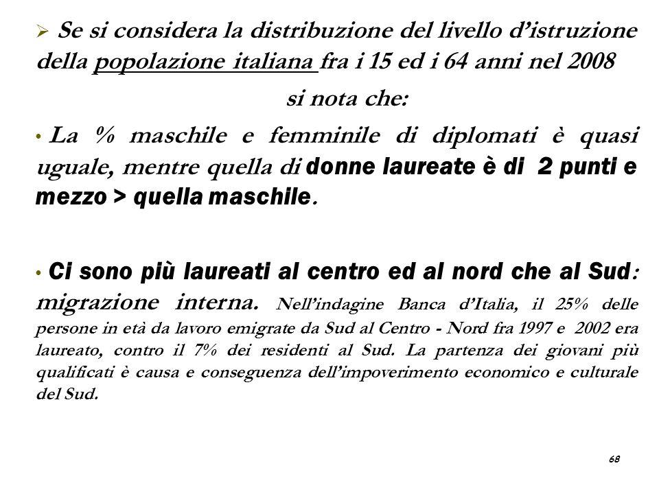 68 Se si considera la distribuzione del livello distruzione della popolazione italiana fra i 15 ed i 64 anni nel 2008 si nota che: La % maschile e fem