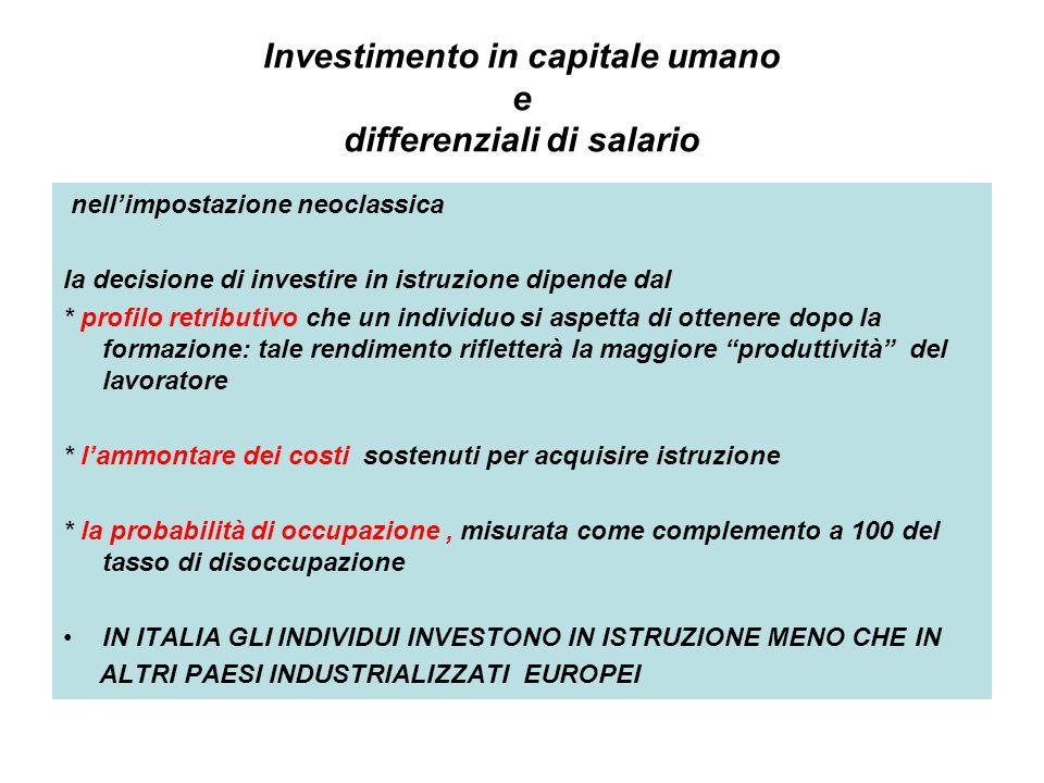 Investimento in capitale umano e differenziali di salario nellimpostazione neoclassica la decisione di investire in istruzione dipende dal * profilo r