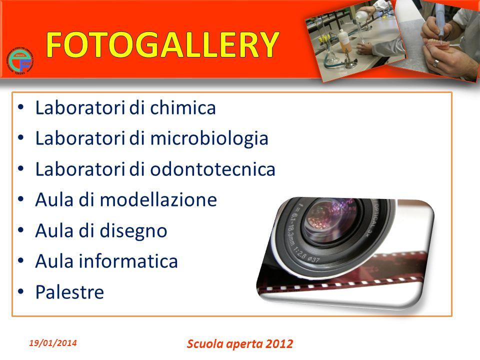 Laboratori di chimica Laboratori di microbiologia Laboratori di odontotecnica Aula di modellazione Aula di disegno Aula informatica Palestre 19/01/2014 Scuola aperta 2012