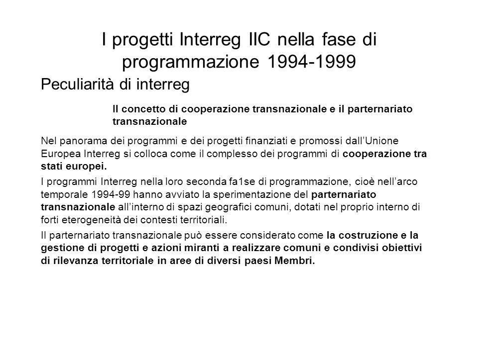 I progetti Interreg IIC nella fase di programmazione 1994-1999 Il concetto di cooperazione transnazionale e il parternariato transnazionale Nel panora