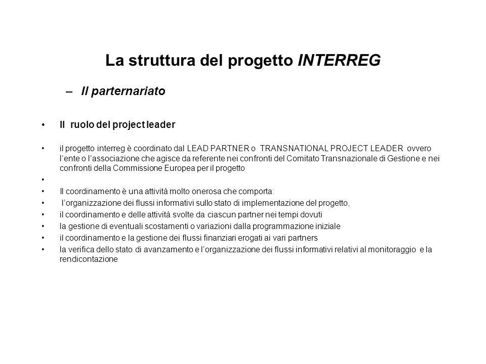 La struttura del progetto INTERREG –Il parternariato Il ruolo del project leader il progetto interreg è coordinato dal LEAD PARTNER o TRANSNATIONAL PR